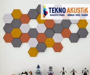 akustik altıgen kumaş kaplı panel