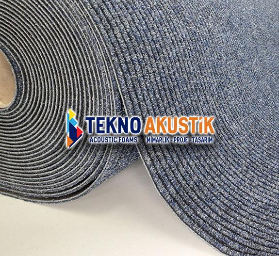 mavi akustik rulo halı